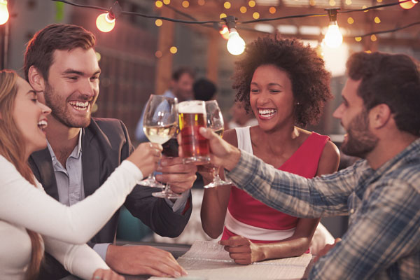 friends having drinks at a restaurant
